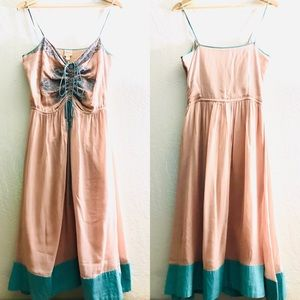 Plenty by Tracy Reese peach embroidered dress sz10